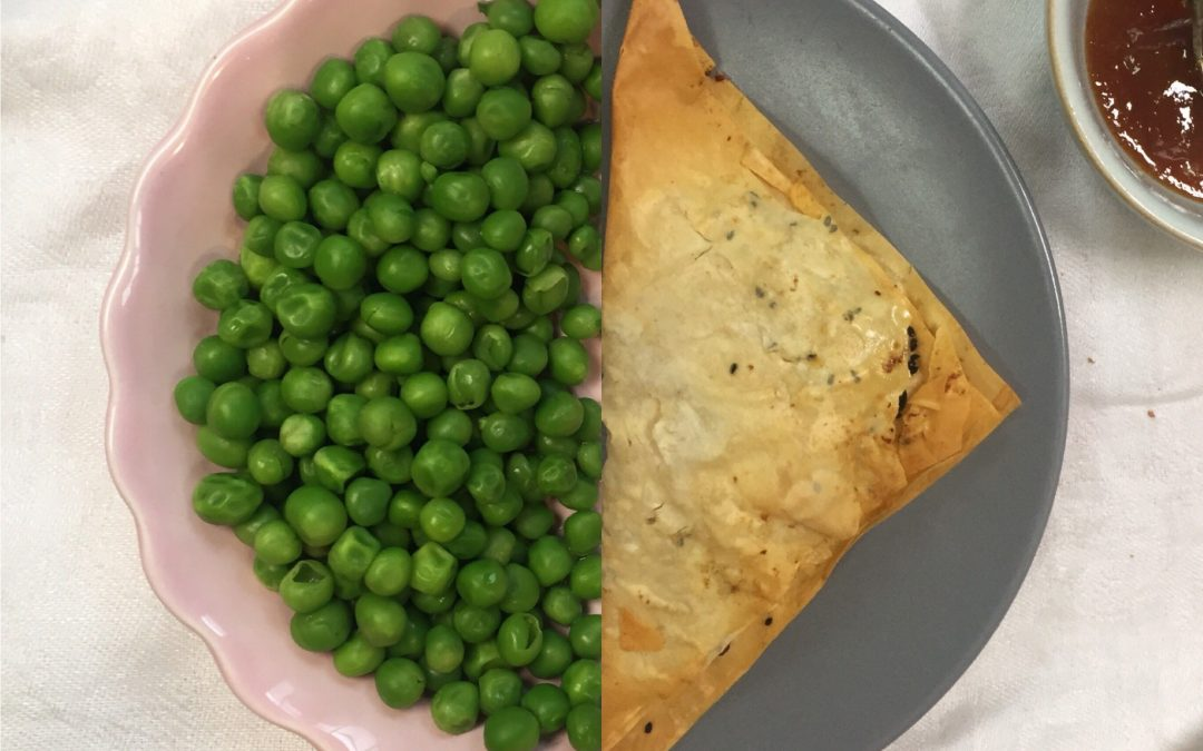 (Too sweet to waste) pea & potato parcels