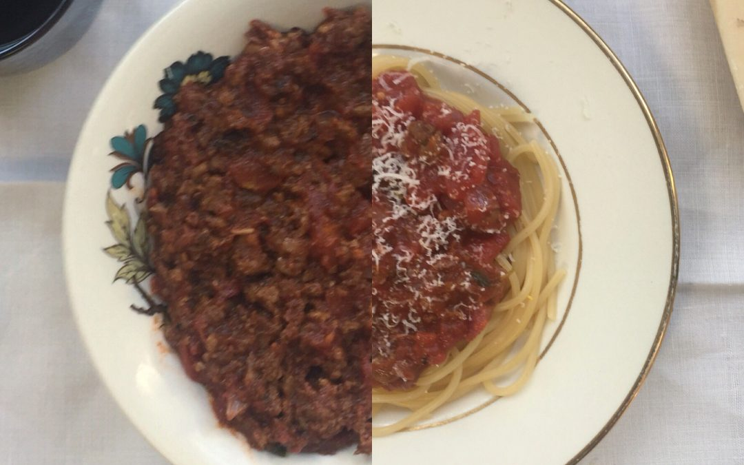 (One spoonful of leftover) Bolognese & tomato sauce