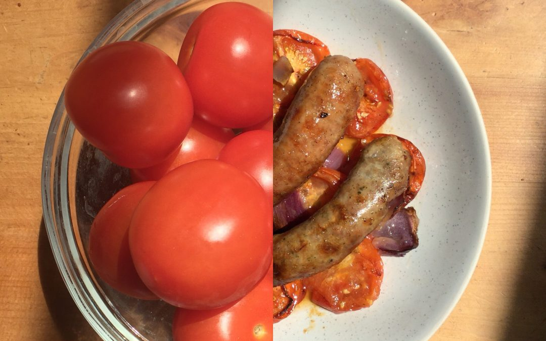 Bursting tomato & sausage bake